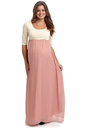 65d6336595dd5 Image Unavailable. Image not available for. Color: PinkBlush Maternity  Blush Pink Chiffon Colorblock Maternity Maxi Dress ...