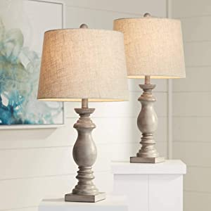 Patsy Country Cottage Traditional Table Lamps Set of 2 Beige Washed Fabric Tapered Drum Shade Decor for Living Room Bedroom House Bedside Nightstand Home Office Entryway Family - Regency Hill