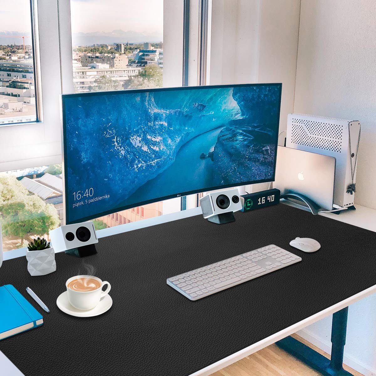 Leather Desk Pad Large,36'' x 20'',Gaming Mouse,Extended Blotter Protector,Toneseas Premium Writing Mat,Durable,Water Resistant,Oil-Proof,Dust-Proof for Office Supplies Back to School College by Toneseas