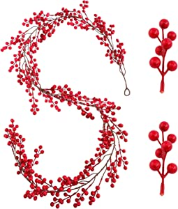 TICLOOC 6.4FT Red Berry Christmas Garland with Pine Cone Greenery Xmas Garland Indoor Fireplace Outdoor Tree Decoration for Winter Holiday New Year Decor