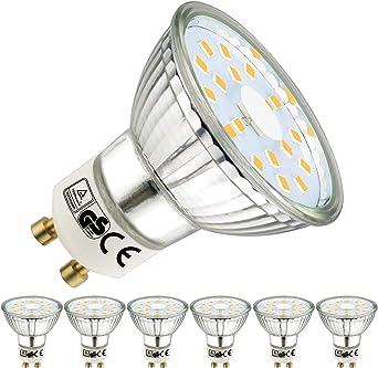 Imagen deEACLL Bombillas LED GU10 4000K Blanco Neutro 5W 535 Lúmenes Equivalente 50W Halógena Lámpara. 120 ° Luz Blanca Neutra natural Spotlight, 6 Pack           [Clase de eficiencia energética A++]