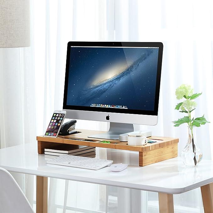 Amazon.de: SONGMICS Bambus Monitorständer Bildschirmständer für den ...