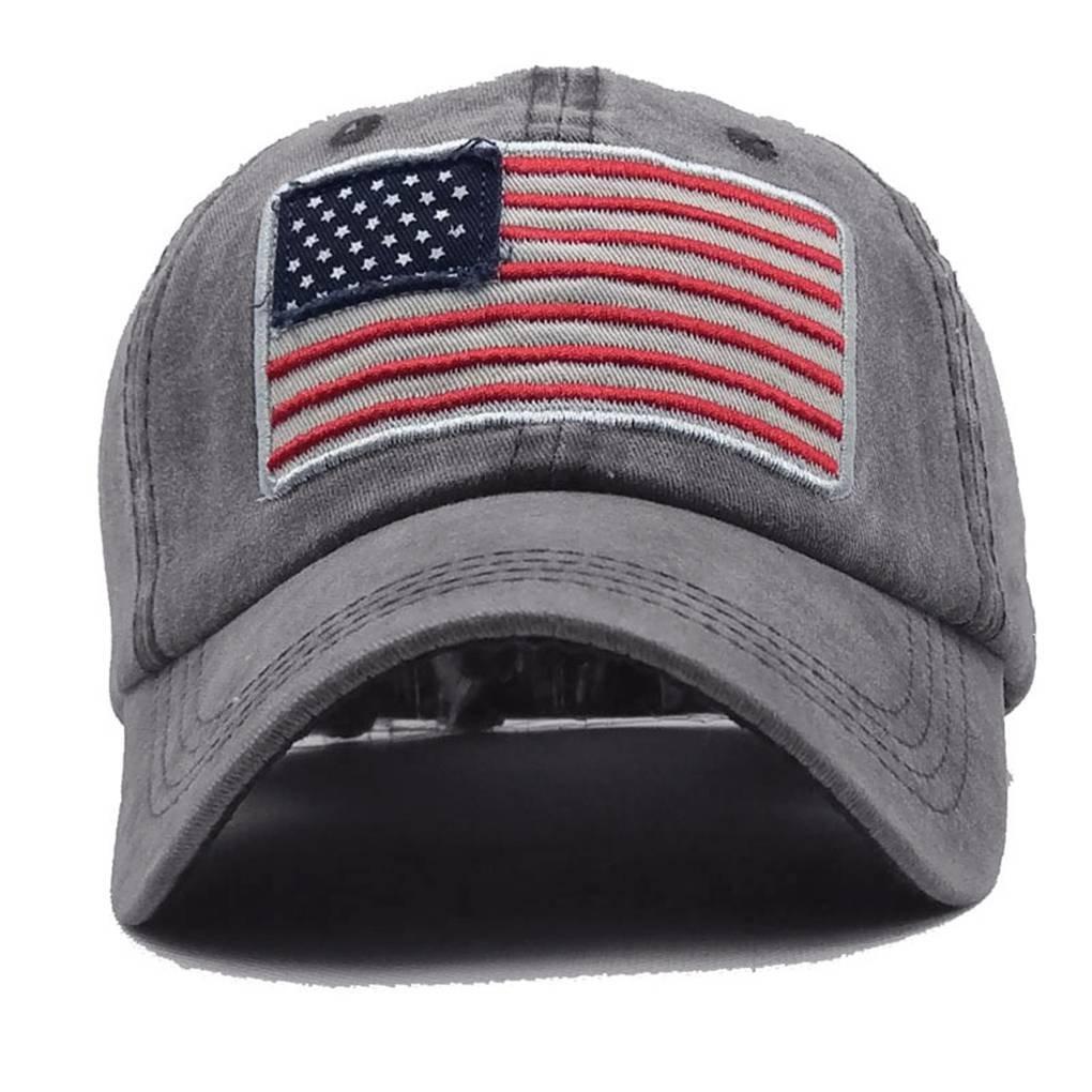 Bobury Cotone Solid Lavato Baseball Caps Uomini Donne Bandiera ricamo Coppia Cap regolabile traspirante cappello Trucker