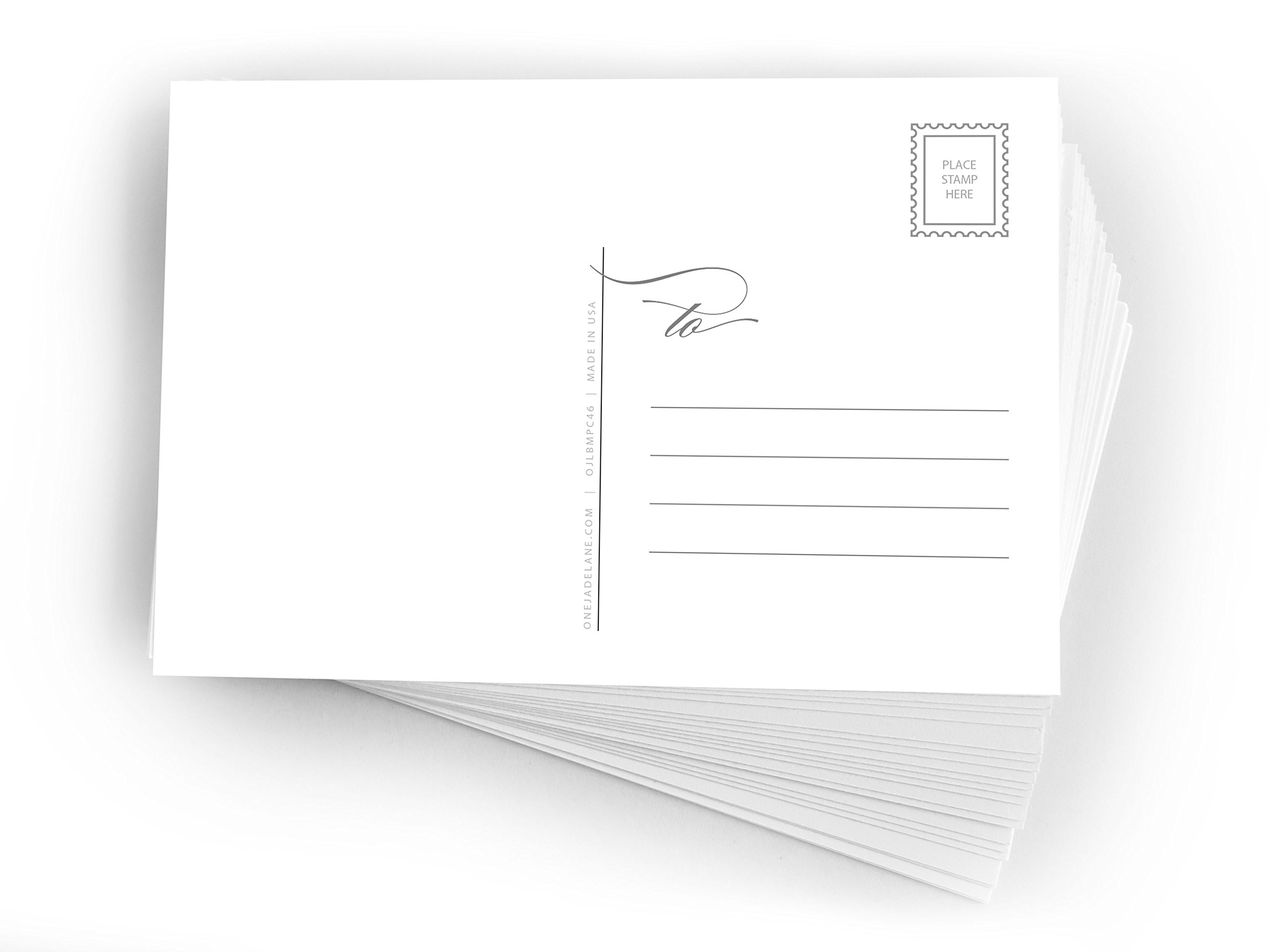 Blank Mailable Postcards - One Jade Lane - Blank Postcards Printable 4x6, Heavy Duty 14pt, Blank Postcards for Art or Printing with Mailing Side for Mailing, (50ct).