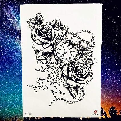 MRKAL Tatuajes Temporales Reloj Reloj De Bolsillo Hojas De Rosa ...