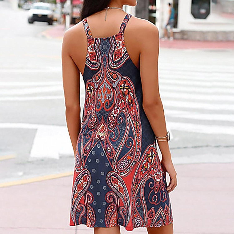 OverDose Mujer Halter Cuello Boho Imprimir Sin Mangas Casual Mini Beachwear Vestido Sundress Correa De Espagueti: Amazon.es: Ropa y accesorios