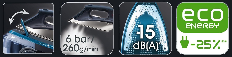 Ricondizionato Certificato Rowenta DG8960 Silence Steam Ferro da Stiro a Caldaia Silenziosa ad Alta Pressione Getto di Vapore 260 g//min