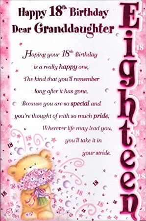 Granddaughter birthday card happy 18th birthday dear granddaughter granddaughter birthday card happy 18th birthday dear granddaughter free uk shipping bookmarktalkfo Images