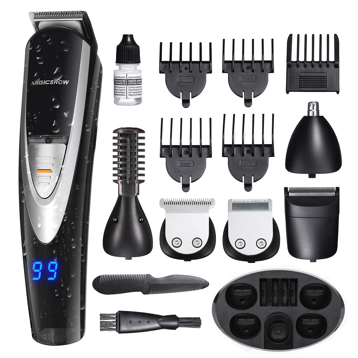 MIGICSHOW Electric Beard Trimmer for men -12 in 1 Multi-functional Grooming Kit for Full size trimmer, Shaver and Body trimmer, Waterproof Support for Shower with LED Display Application of 100-240V