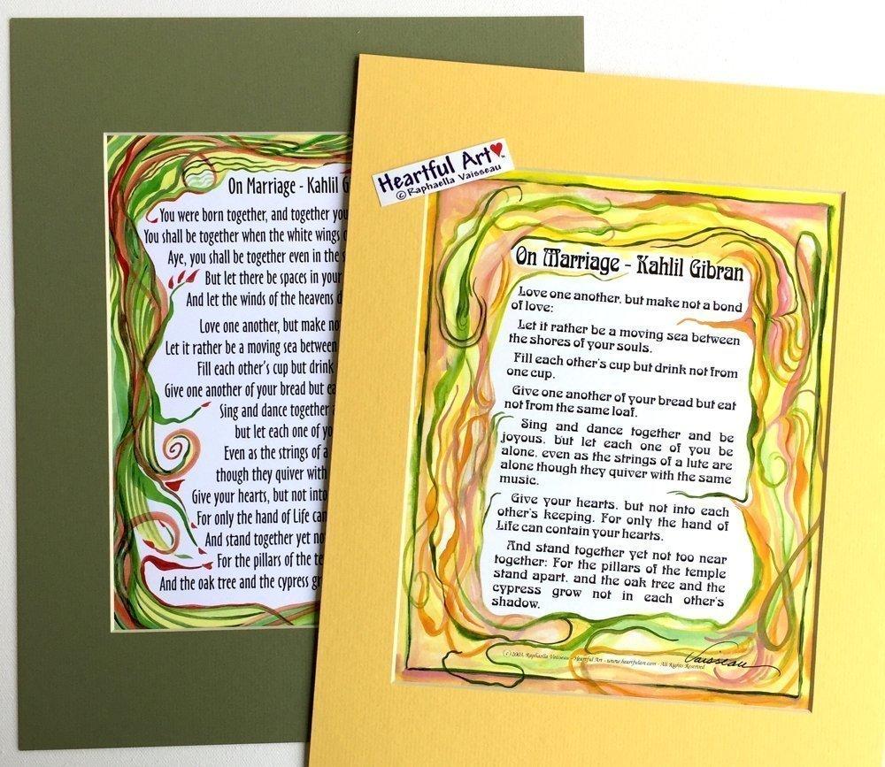 Amazon.com: On Marriage 11x14 Kahlil Gibran print - Heartful Art by ...