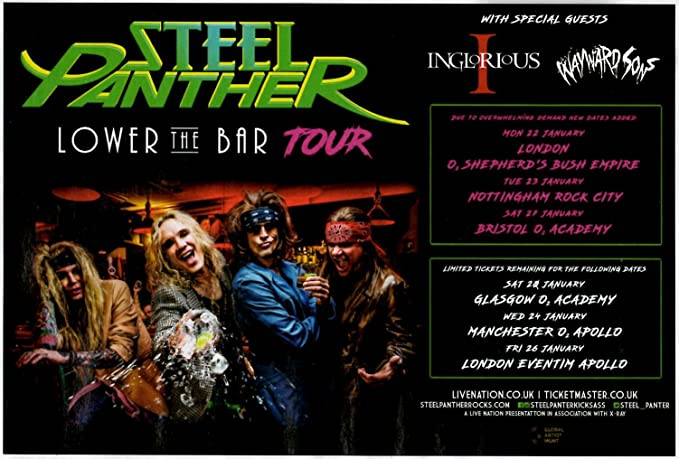 Stick It On Your Wall Mini-Poster Steel Panther - Lower Bar Tour 2018 – 25,4 x 30,3 cm