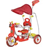 NHR Dash Kids Vega Musical Tricycle with Canopy, Storage Basket, Foot Rest and Parent Push Handle (Red)