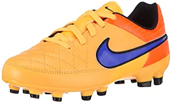 Nike Youth Tiempo Genio Leather Firm Ground (LASER ORANGE/TOTAL ORANGE/VOLT/
