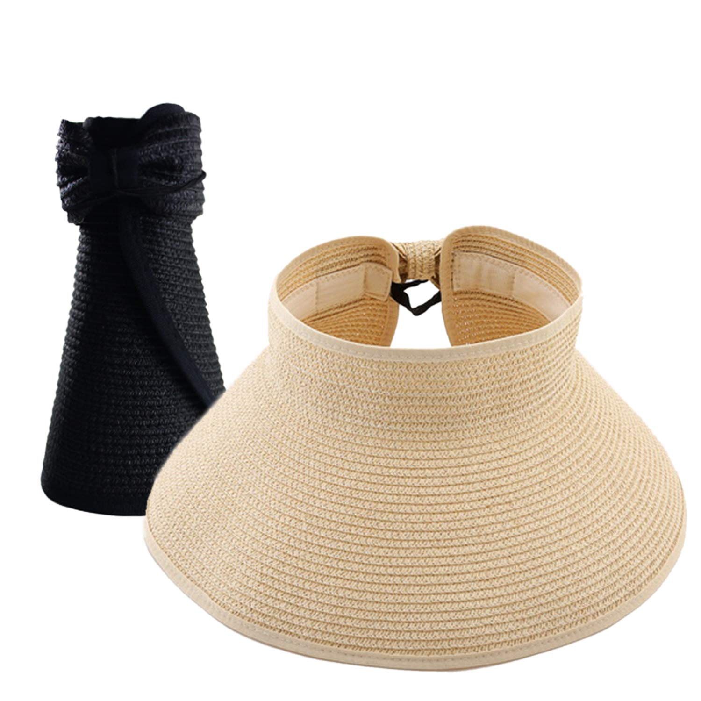 Womens Summer Foldable Wide Brim Sun Visor, Roll Up Beach Straw Hat with Cute Bowtie
