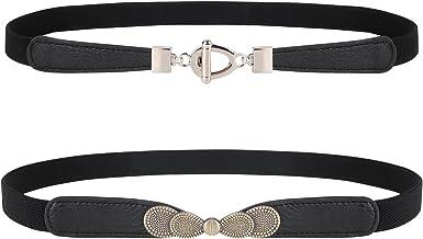 Black Skinny Elegant Woman Design Belt With Double Rhinestones Heart Size  M L