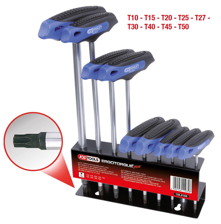 9-tlg. KS Tools 158.8160 ERGOTORQUEplus T-Griff-TX-Winkelschl/üssel-Satz