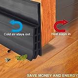 """Door Bottom Seal Strip Under Door Sweep Weather Stripping Energy & Money Saving Under Door Draft Stopper 2"""" Width x 39"""" Length(Black)"""
