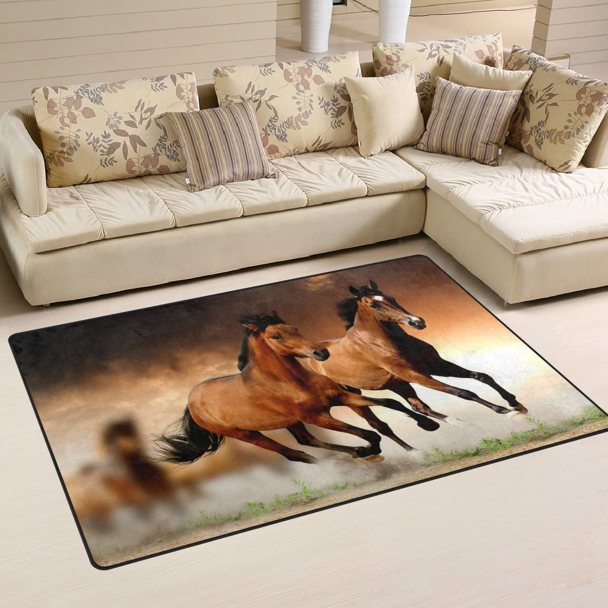 LORVIES Running Horses Area Rug Carpet Non-Slip Floor Mat Doormat