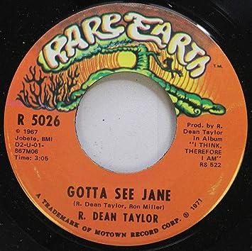 R  Dean Taylor - R  Dean Taylor 45 RPM Gotta See Jane / Back