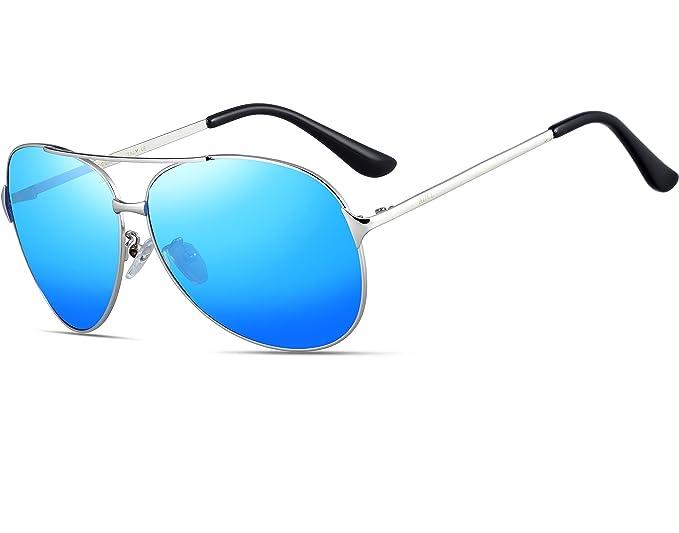 ATTCL Hombres Gafas De Sol Polarizadas Uv400 Súper Ligero Marco De Metal 8009-Blue