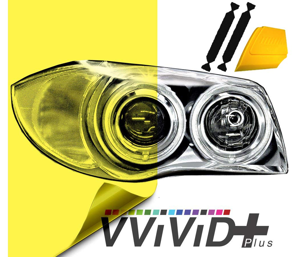VViViD Extra-Wide Headlight Taillight Vinyl Tint Wrap 16 Inch x 48 Inch Roll Including Yellow Detailer Squeegee /& 2X Black Felt Edge Decals Pink
