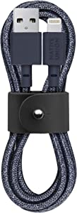 Native Union Belt Cable - 4ft Ultra-Strong Reinforced [MFi Certified] Durable Lightning to USB Charging Cable with Leather Strap Compatible with iPhone/iPad (Indigo)