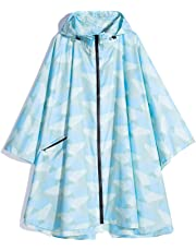 Krespuka Womens Rain Poncho Waterproof Raincoat with Hood Zipper Outdoor Hiking Biking