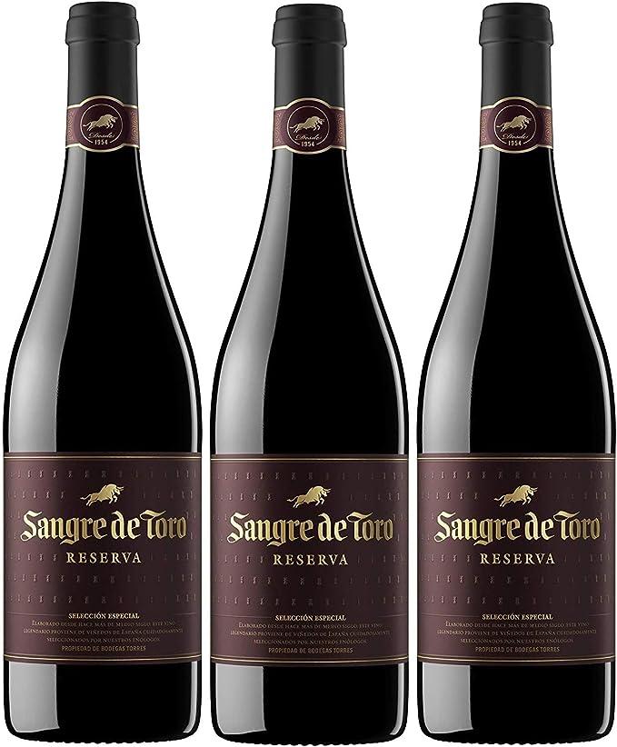 Sangre de Toro Reserva, Vino Tinto - 3 botellas de 75 cl, Total: 2250 ml: Amazon.es: Alimentación y bebidas