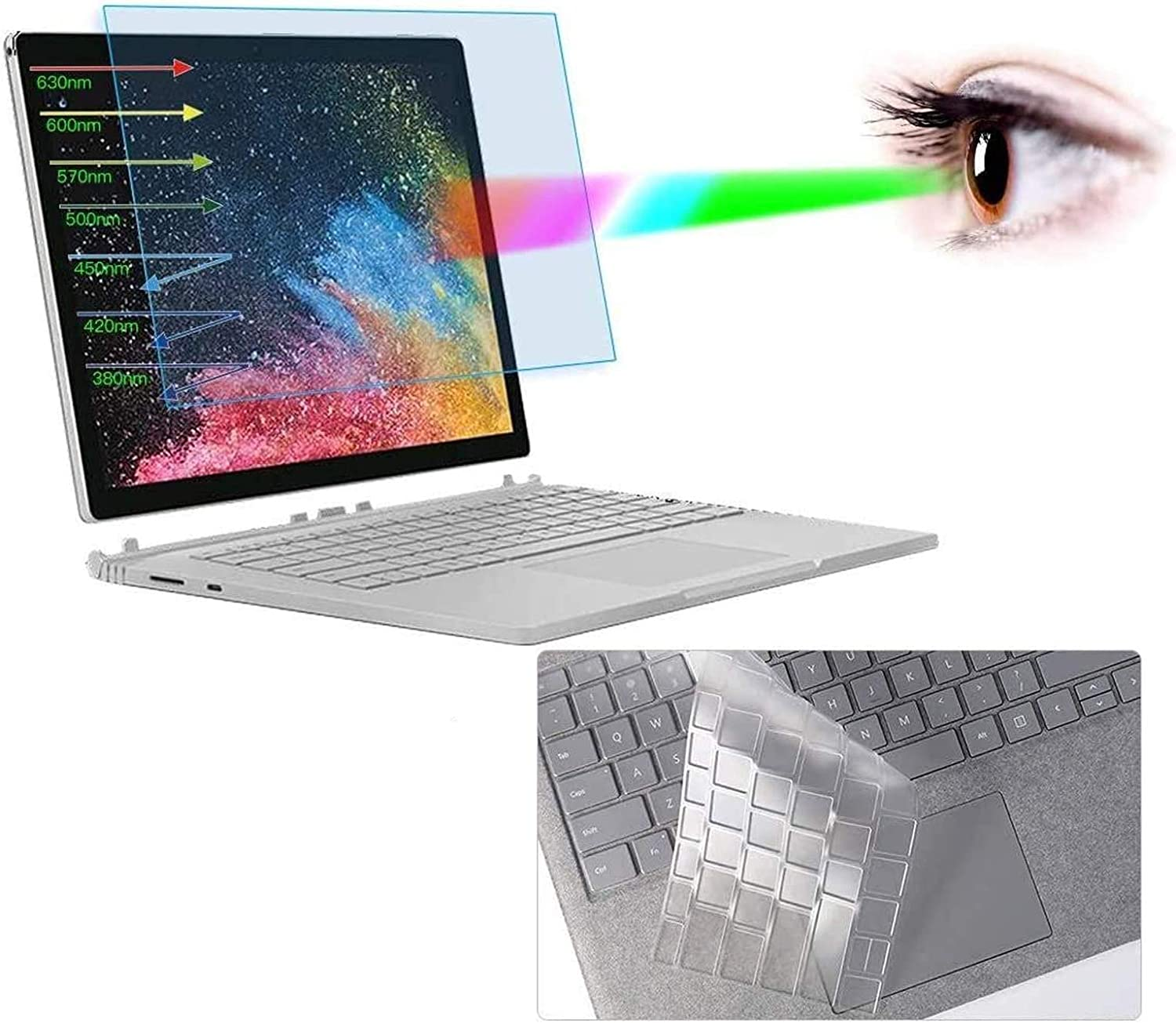 "Surface Book 2 15"" Screen Protector, Anti Blue Light Screen Protector with Keyboard Cover for Microsoft Surface Book 2 15"" Laptop Anti Blue Light Glare Screen Filter Eye Protection Screen Protector"