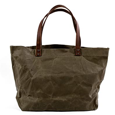 d62eca54d881 Amazon.com  Travel Tote Bag Waxed Canvas Yoga Bag Shoulder Bag Handbags  With Top Double Leather Handles Water Repellent Dirt Resistant (Army Green  tote)  ...