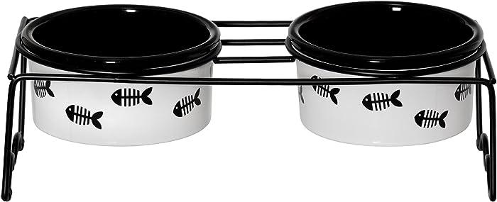 Signature Housewares Fish Cat Set of 2 Bowls with St&