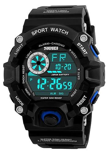 Relojes digitales hombre deportivo, Al aire libre 5 ATM impermeable Running relojes de LEDs, Gran Cara reloj hombre con alarma para hombres: Amazon.es: ...