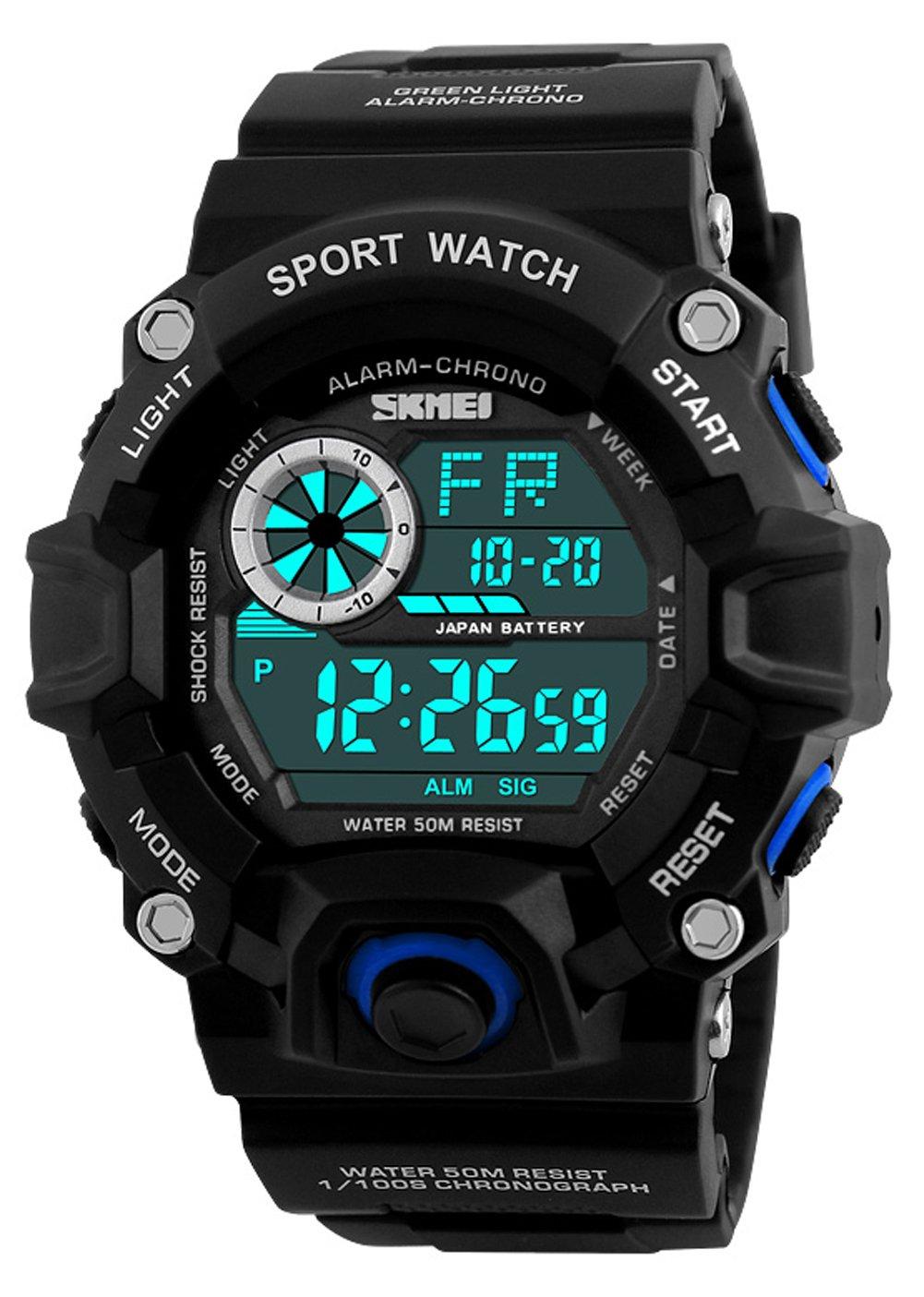 Digitale Herren Sportuhr, Outdoor 5 Bar wasserdicht Laufen militärische LED Uhren, große Anzeige Armbanduhr mit Wecker für Herren von ZAWTR