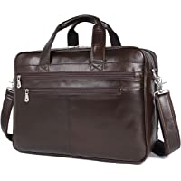 """Polare Real Soft Nappa Leather 17"""" Laptop Case Professional Briefcase Business Bag for Men (Coffee)"""