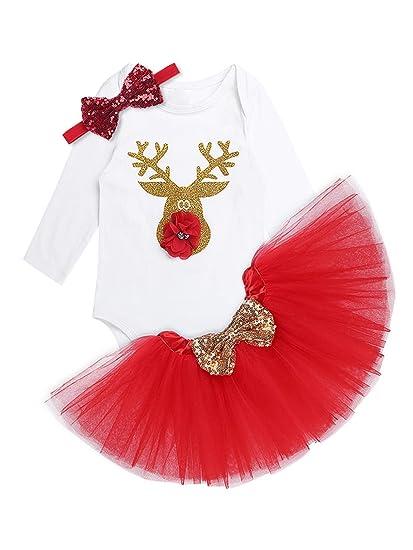 MSemis Conjunto Navidad para Bebés Niñas Disfraz Reno Vestido ...