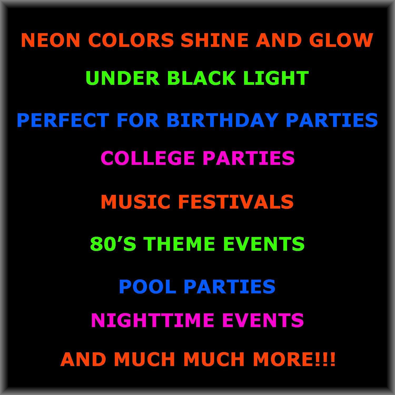 Neon Party Cups - 96 Pack - 48 Soft 18 OZ Beer Cups and 48 Hard plastic 1 OZ Shot Glasses - UV Reactive Blacklight Colors - Pink, Green, Blue, Orange - Birthdays, Clubs, 80s Festivals, Beer Pong, Etc. by HeroFiber