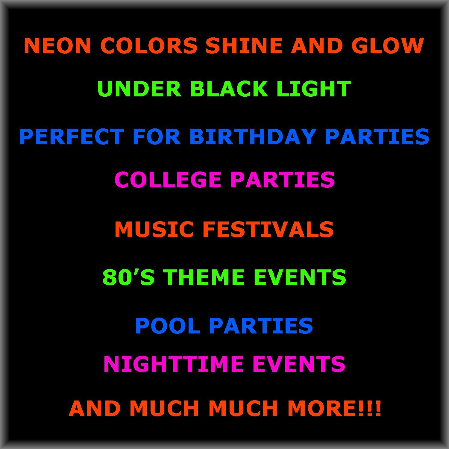 Neon Party Cups - 96 Pack - 48 Soft 18 OZ Beer Cups and 48 Hard plastic 1 OZ Shot Glasses - UV Reactive Blacklight Colors - Pink, Green, Blue, Orange - Birthdays, Clubs, 80s Festivals, Beer Pong, Etc.
