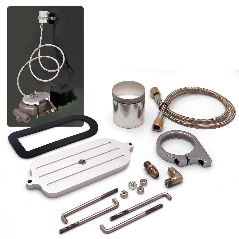 Helix 14679 Billet Remote Brake Reservoir Kit with Large Tank for Mustang Master Cylinder