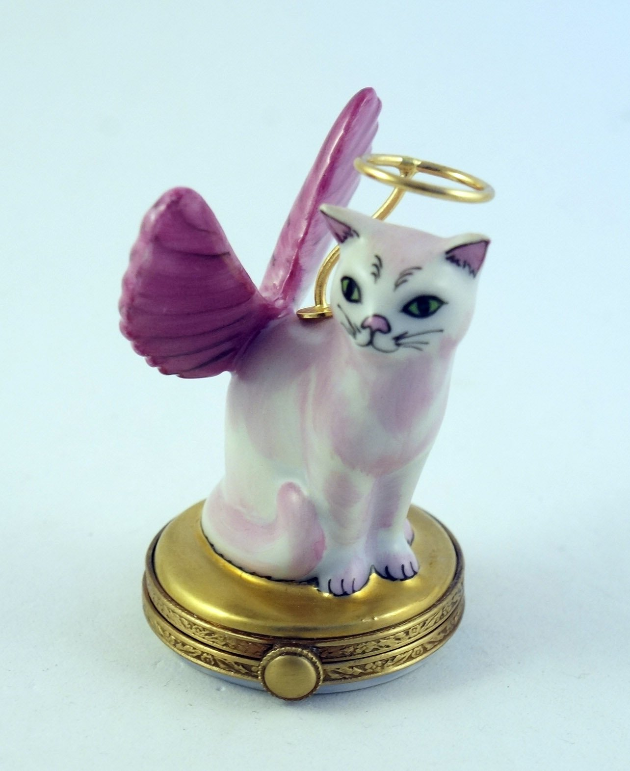 Authentic French Porcelain Hand Painted Limoges box Angelic Kitty Cat