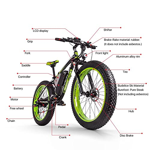 eBike_RICHBIT VTT électrique Homme Vélo Tout Terrein électrique RHL-022 en Alliage d'Aluminium 48V 1000W 17A avec Ecran LCD et Pas 7 d'Assistance électrique