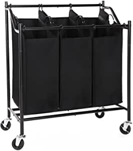 SONGMICS 3 Rolling Laundry Sorter Cart Heavy-Duty Sorting Hamper with Removable Bags Brake Casters Black URLS70H