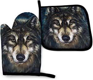 Surwoaly Oven Mitt & Pot Holders Set,Realistic Wolf Kitchen Heat Resistant and Washable for Cooking Baking Grilling and BBQ Decorative Baking Kitchen Gift