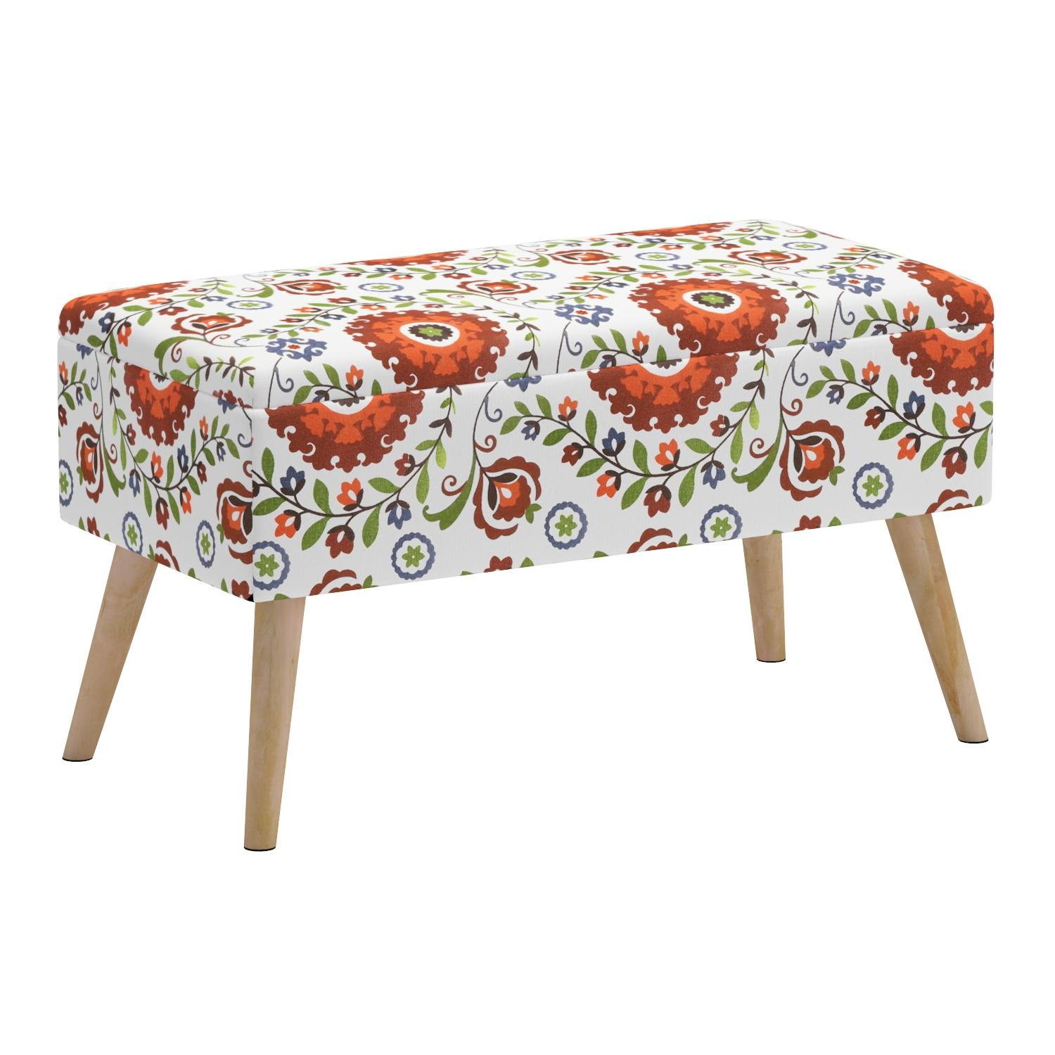 Otto & Ben 30'' Storage Bench - Mid Century Ottoman with Easy Lift Top, Upholstered Shoe Ottomans Seats for Entryway and Bedroom, Retro Floral