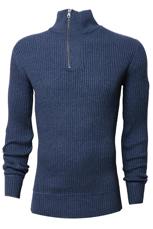 Crosshatch Mens Ordall Designer Knitted Ribbed Pullover Jumper
