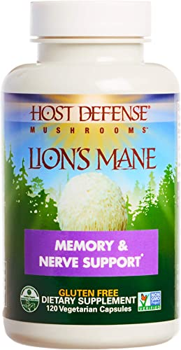 Host Defense, Lion s Mane Capsules, Promotes Mental Clarity, Focus and Memory, Daily Mushroom Supplement, Vegan, Organic, 120 Capsules 60 Servings