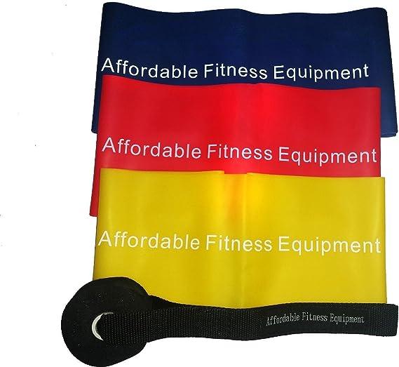 Fitness Bandas – Juego de 4 piezas Contiene 3 extra larga bandas y una türhalterung – Workout Cualquier Lugar posible: como estática o en viajes – de ...