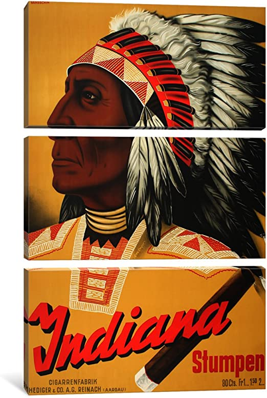 iCanvasART 3 Piece Indiana Stumpen-Vintage Poster Canvas Print by Unknown Artist 1.5 x 40 x 60-Inch