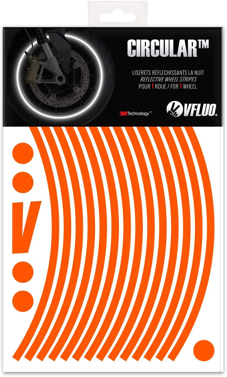 VFLUO Circular™, Kit de Cintas, Rayas Retro Reflectantes para Llantas de Moto (1 Rueda), 3M Technology™, Anchura Normal : 7mm, Naranja