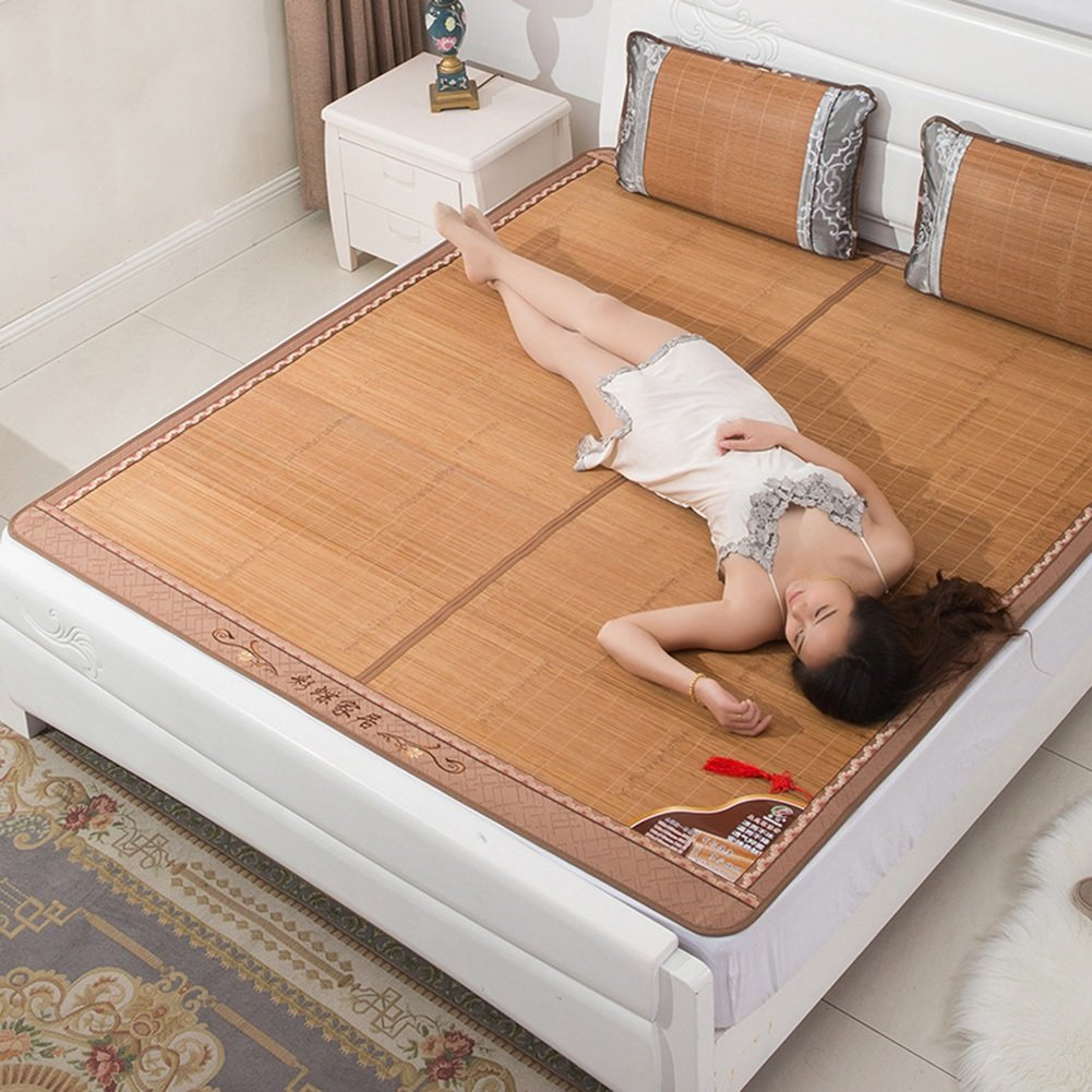 WENZHE Bambus Matratzen Sommer-Schlafmatten Strohmatte Teppiche Falten Doppelseitige Verwendung Zuhause Schlafzimmer Kühlung Multifunktion, 2 Arten, 4 Größen (Farbe : B, größe : 1.2×1.9m)