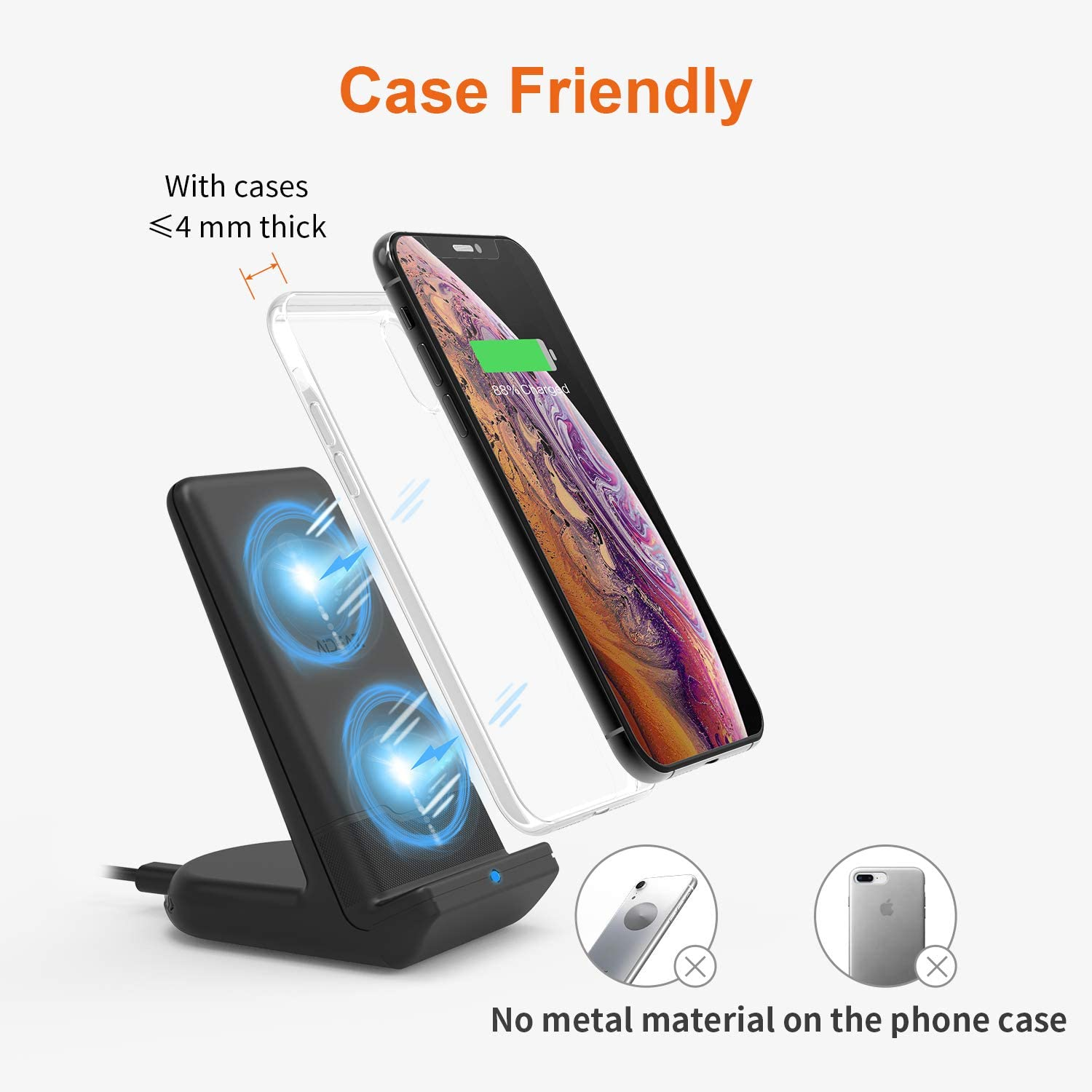 5W for Other Qi Phones 10W for Galaxy S20//S10//S9//Note 10//Note 9 AIDEAZ Wireless Charger Qi Wireless Charging Stand Compatible with iPhone 11//11 Pro Max//XS Max//XR//XS//X//8//Plus//8 Includes AC Adapter